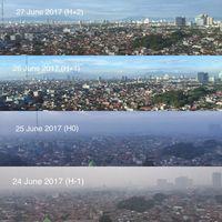 Foto beda langit Jakarta sebelum dan saat Lebaran.