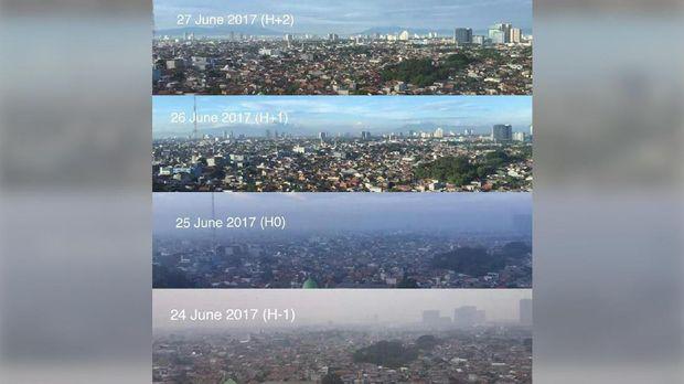 Langit Jakarta yang tampak biru saat libur Lebaran.