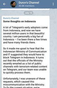 Panik diblokir indonesia, pencipta telegram akui salah