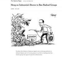 Karikatur tentang Jokowi di New York Times.