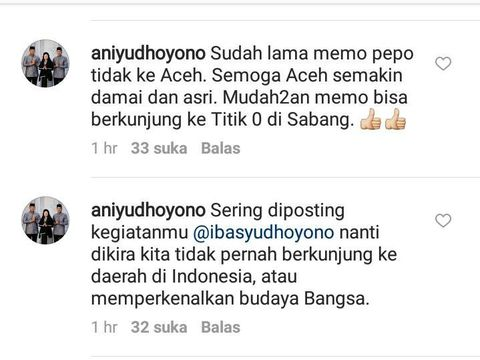 Screenshot komentar Ibunda Ibas, Ani Yudhoyono