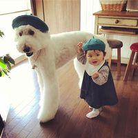 Gemes Banget Bayi Dan Anjing Ini Sering Pakai Baju Kembar