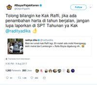 Kicauan Ditjen Pajak di twitter untuk Raffi Ahmad