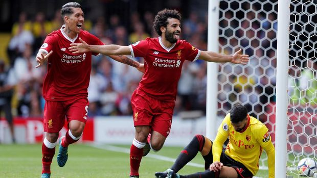 Mohamed Salah mencetak gol yang membawa Liverpool unggul 3-2 atas Watford.