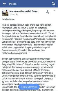 Screenshot FB Direktur MAARIF Institute
