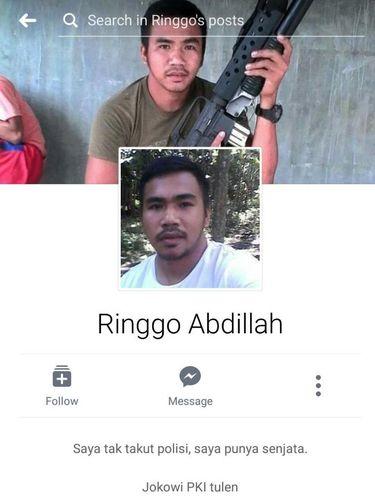 Akun Ringgo Abdillah di Facebook yang viral karena menghina presiden dan Kapolri.