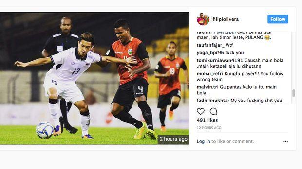 Suporter Timnas Indonesia menyerang akun Instagram milik Filipe Olivera.