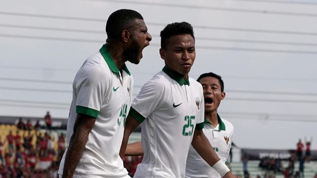Marinus mencetak gol tunggal Indonesia ke gawang Timor Leste