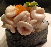 Sushi dengan paduan sperma ikan.