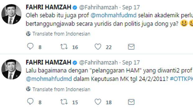 Debat Fahri Vs Mahfud MD di Twitter, Dari OTT hingga Gantian Korupsi