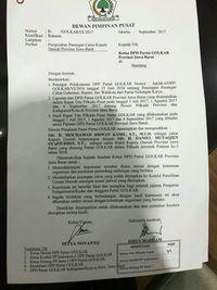 Surat Golkar mendukung Ridwan Kamil yang beredar.
