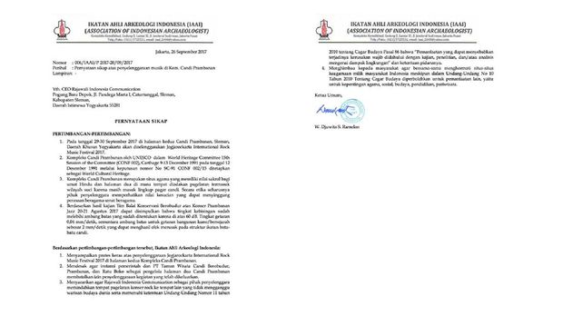 Surat protes Ikatan Ahli Arkeologi Indonesia (IAAI) tentang pelaksanaan JogjaROCKarta.