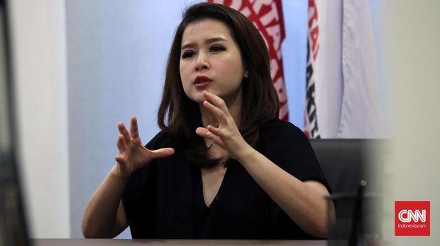 Ketua Umum Partai Solidaritas Indonesia (PSI) Grace Natalie, di Jakarta, 2017. Ia meminta KPU adil dalam melakukan verifikasi terhadap parpol lama.