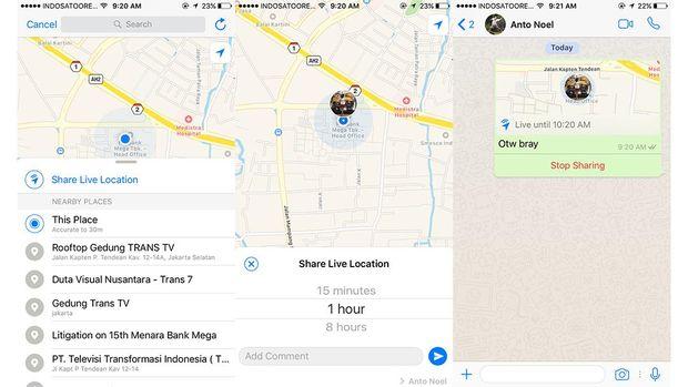Bedanya Fitur Baru Berbagi Lokasi Whatsapp
