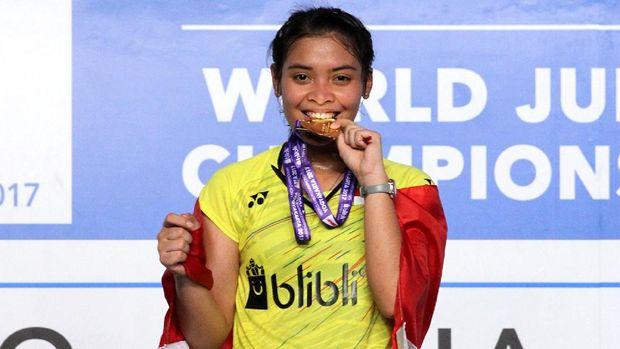 Gregoria Mariska berhasil berdiri di podium tertinggi pada Kejuaraan Dunia Junior 2017.