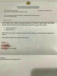 Surat usulan dari Dekan Fakultas Ekonomi dan Bisnis UGM Eko Suwardi