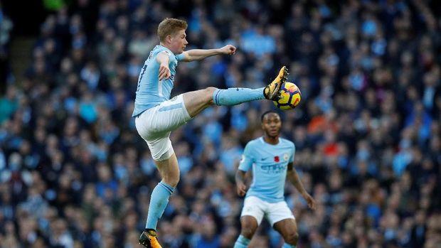Kevin De Bruyne mencetak gol pertama Manchester City di laga ini.