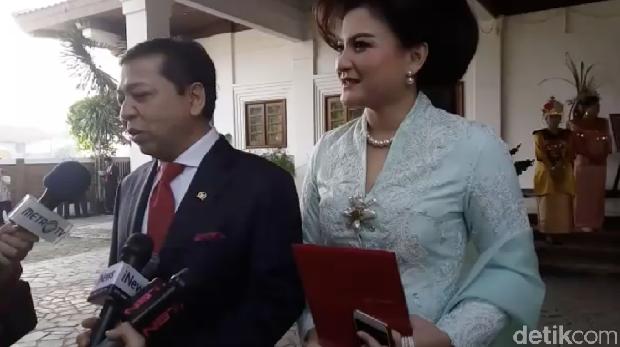 Novanto dan istri di lokasi pernikahan Kahiyang-Bobby.