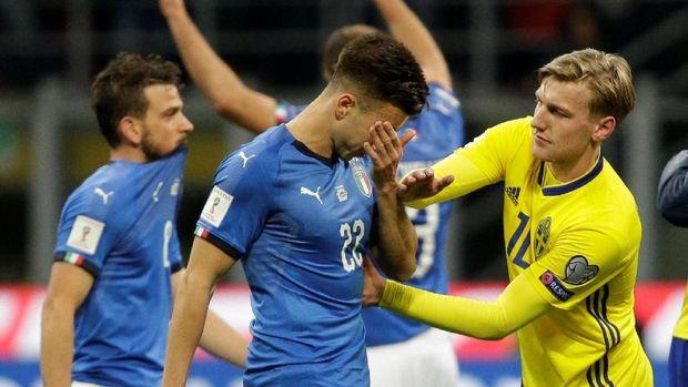 Timnas Italia disingkirkan Swedia di fase play-off kualifikasi Piala Dunia 2018 zona Eropa. (
