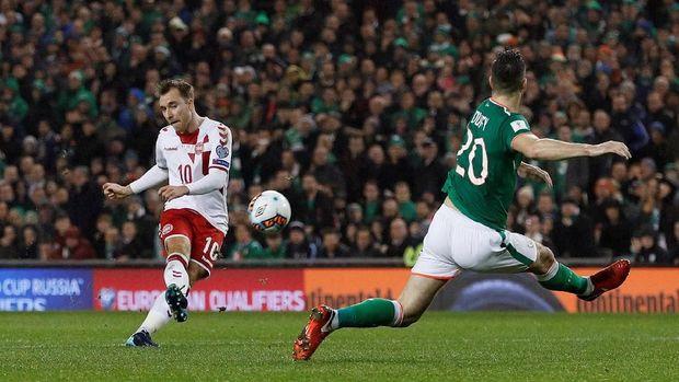 Christian Eriksen mencetak hattrick ke gawang Republik Irlandia. (