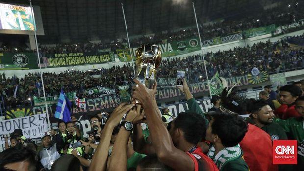 Setelah dipastikan promosi ke Liga 1, Persebaya juara Liga 2. (
