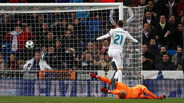 Borja Mayoral mencetak gol pertama untuk Real Madrid ke gawang Dortmund. (