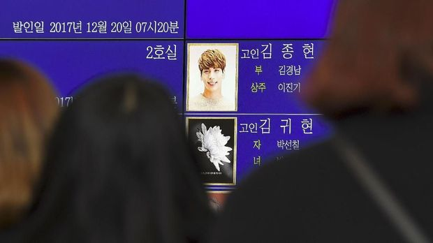 Nomor ruangan yang disewa di rumah duka (jangraeshikjang). (AFP PHOTO/JUNG Yeon-Je)