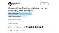 Jokowi Menang dalam Survei Fadli Zon Lewat Twitter