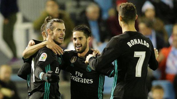 Jumlah gol kuartet Real Madrid masih kalah dari jumlah gol Lionel Messi.