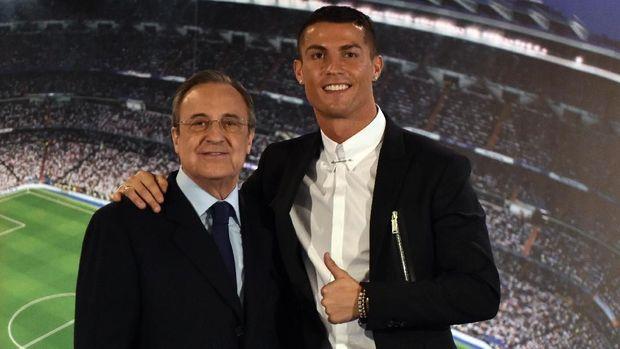 Florentino Perez (kiri) dikabarkan ingin mendepak Cristiano Ronaldo dari Real Madrid.