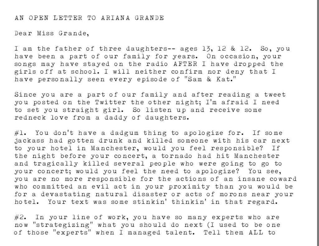 Surat Haru Seorang Ayah untuk Ariana Grande