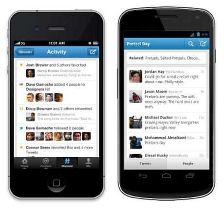 Twitter for Iphone and Android