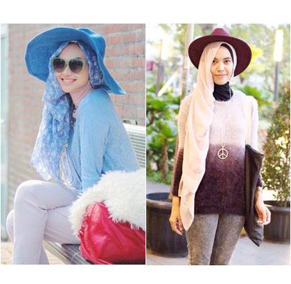 Hijab Style Bergaya Dengan Topi Besar Ala Zaskia Sungkar