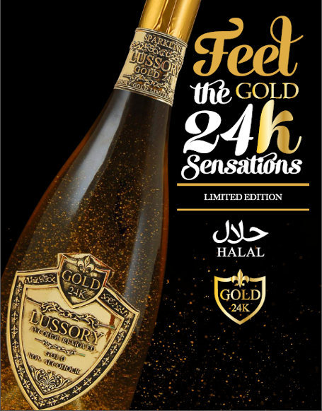 Slurp! Lussory Gold, Sparkling Wine Halal Berisi Serbuk Emas 24 Karat