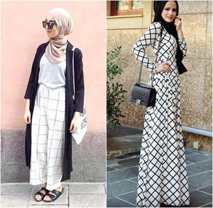 Hijab Style Tren Busana Print Kotak Kotak Populer Di
