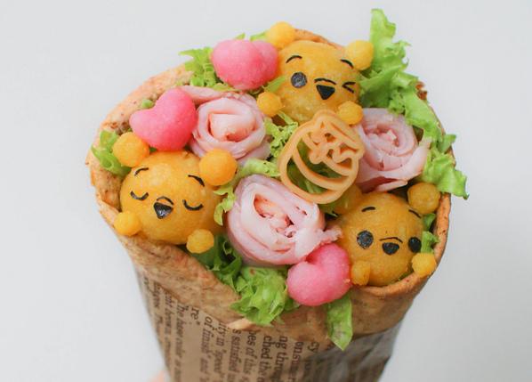 Buket Cantik Ini Dibuat dari Roti Tawar dengan Aneka Isian
