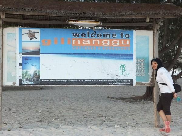 Papan selamat datang di Gili Nanggu