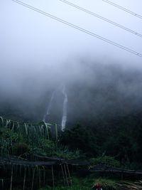 Kabut di jalan menuju air terjun