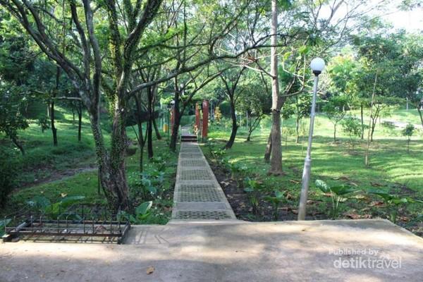 Pohon-pohon yang menaungi salah satu sisi di Taman Lembah Gurame