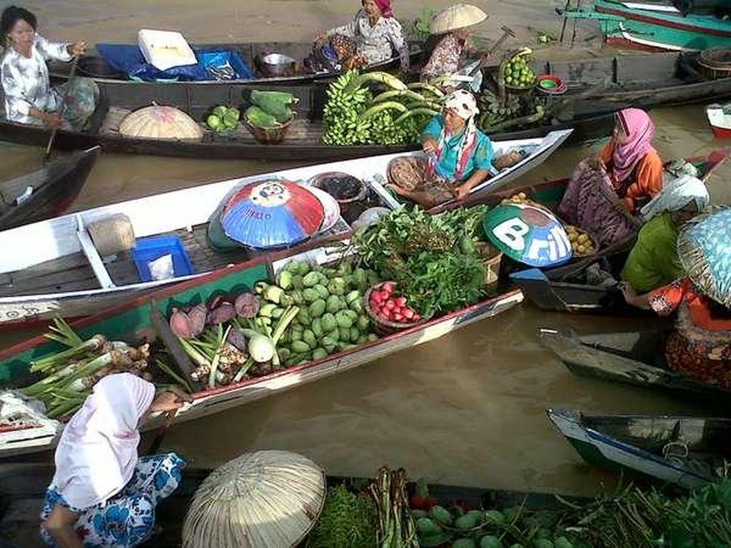 Bukan Thailand, Ini Pasar Terapung Lok Baintan di Banjarmasin