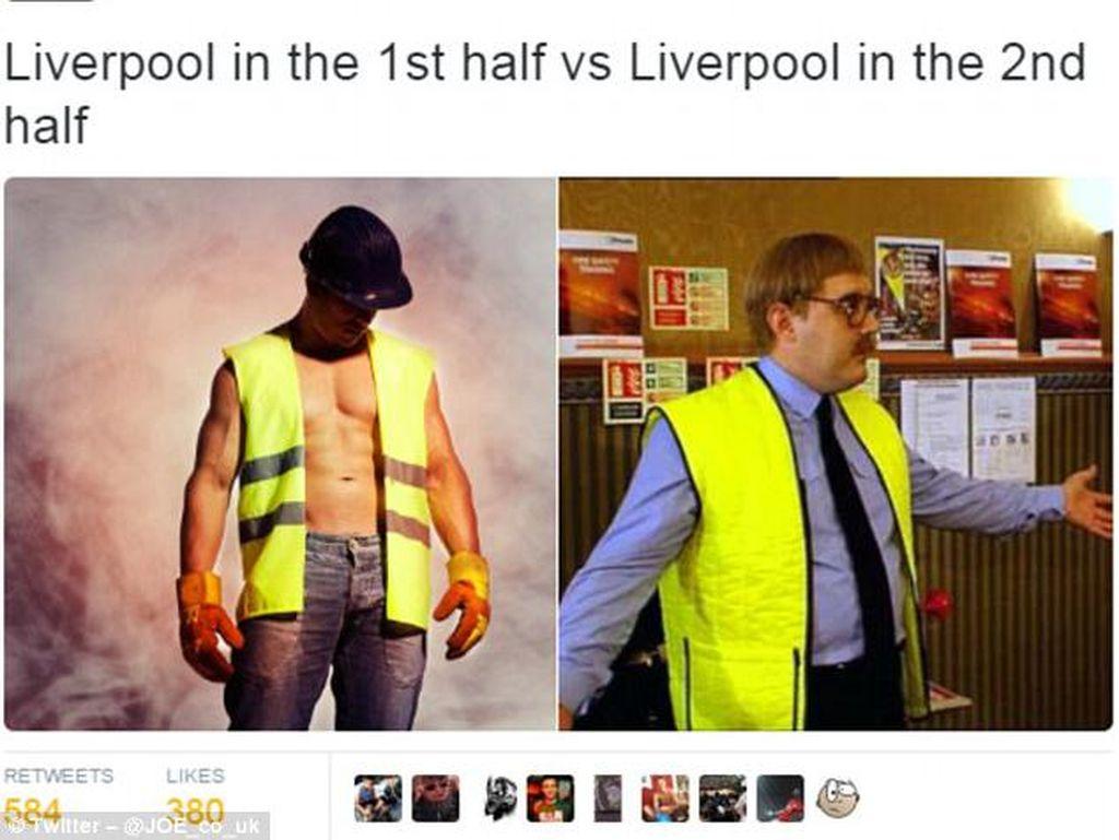 Unggul 2-0 Lalu Kalah, Liverpool Jadi Candaan Netizen
