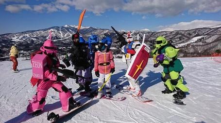 Viral Di Medsos Jepang, Robot Gundam Main Snowboard