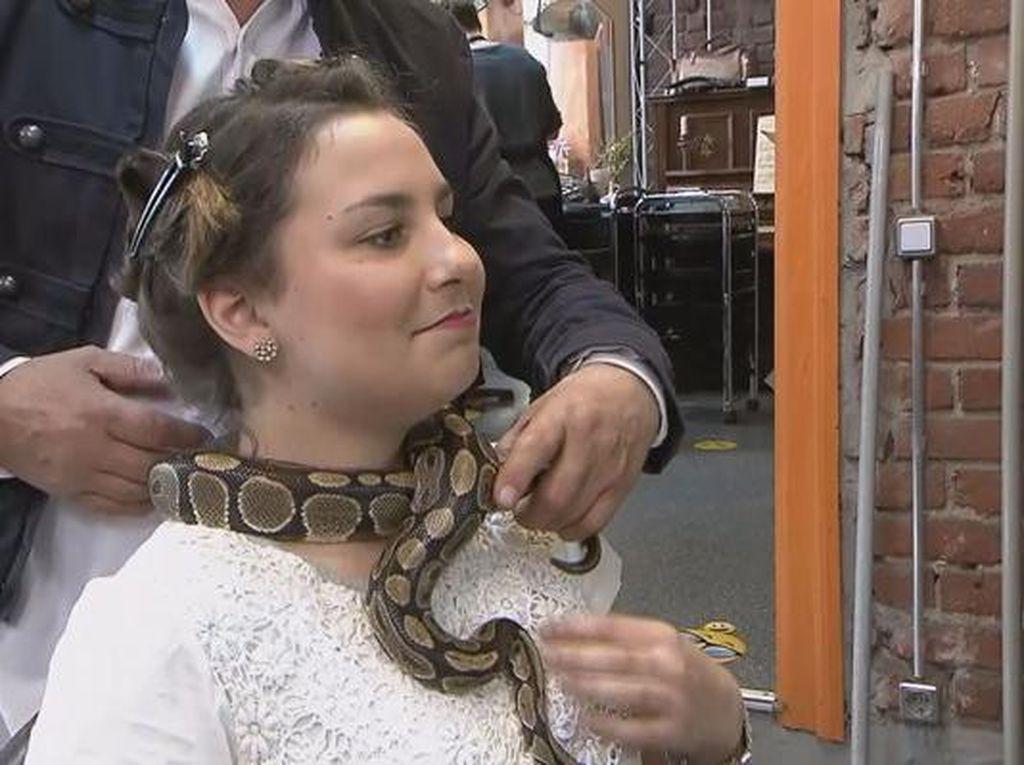 Salon Ini Sediakan Perawatan Pijat Ular yang Dililitkan di Leher