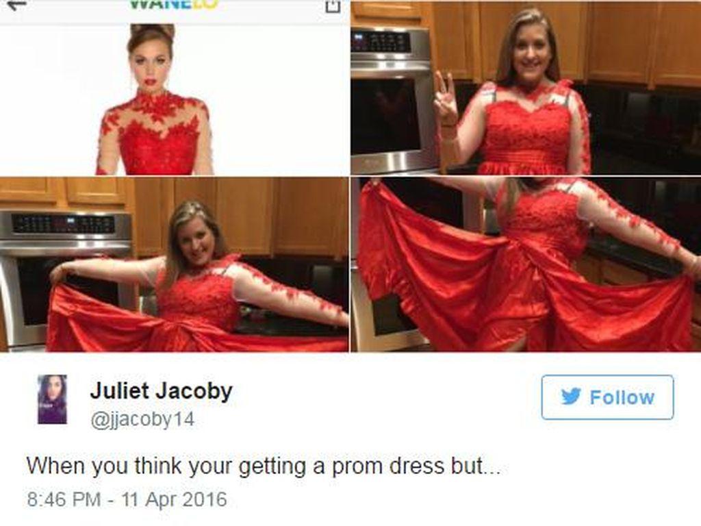 Foto: Ini yang Terjadi Saat Tak Hati-hati Beli Gaun Pesta Secara Online