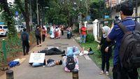 Aksi dilakukan Jalan Kebon Sirih, berdekatan dengan sekretariat Wakil Presiden dan Balai Kota DKI Jakarta. (Foto: Koalisi Pejalan Kaki)