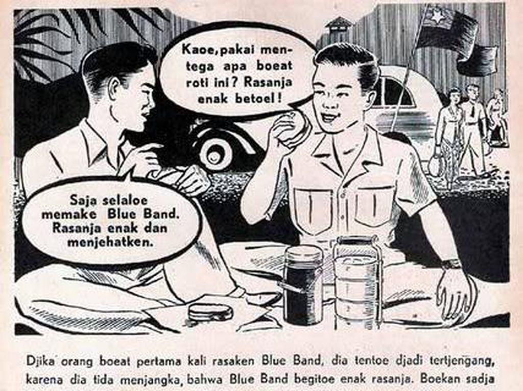 Iklan hitam putih ini menyebutkan kelezatan Blue Band. Uniknya modelnya justru bukan ibu tapi dua pria yang sedang menikmati roti dengan margarin.