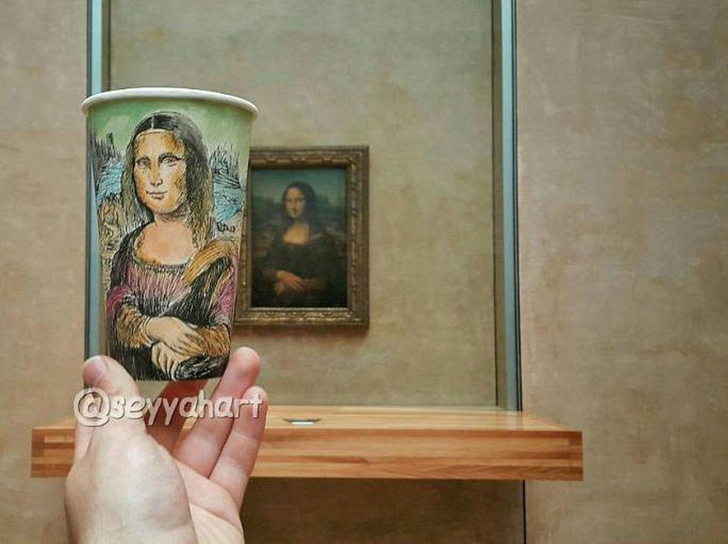 Dibalik gambar Mona Lisa dan gambar lain yang artistik ini, Armagan punya misi lain. Ia menjual karyanya untuk mencari dana traveling. (Foto: Berk Armagan)