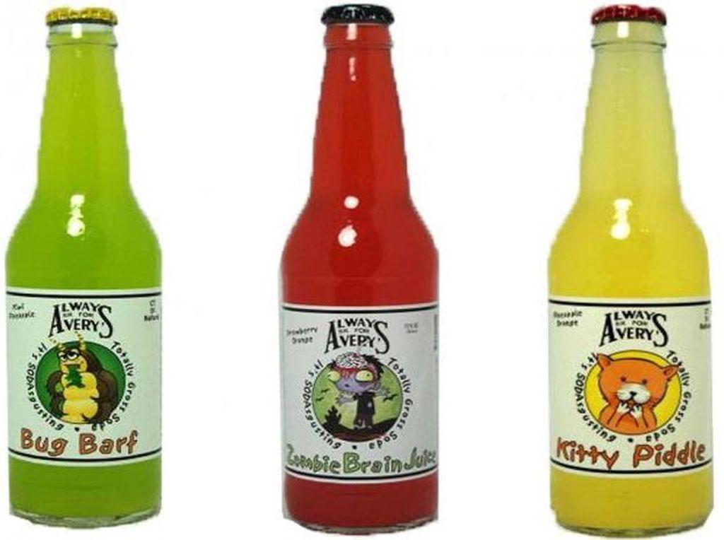 "Averys yang ada di New England, Connecticut, sejak tahun 1904, dan dikenal dengan krim soda berkualitas tinggi. Mereka memperkenalkan Totally Gross Sodas, seperti ""Fungal Fruit,"" ""Bug Barf,"" ""Dog Drool,"" dan ""Monster Mucus."". Foto: Istimewa"