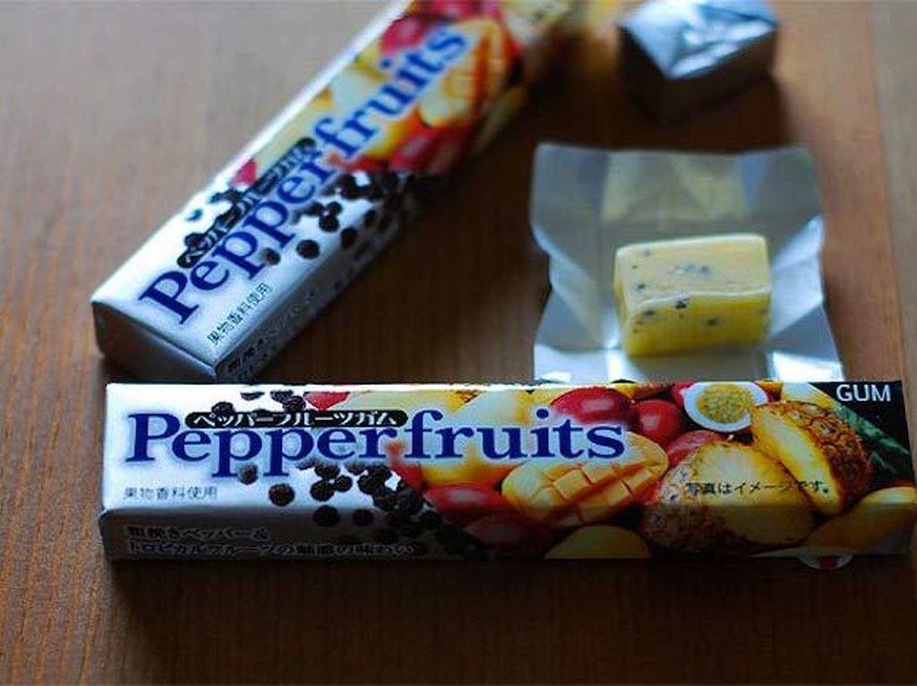 Pepperfruits merupakan sebenarnya permen karet rasa buah. Tapi makin unik dengan tambahan lada hitam! Foto: Istimewa