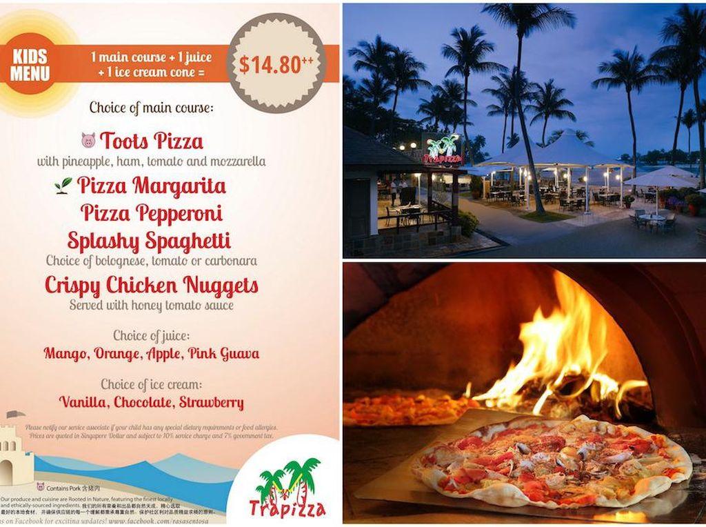 Mau mengajak si kecil belajar bikin pizza sambil main di pantai? Trapizza di Siloso Beach hadirkan pengalaman unik ini. Si kecil juga akan puas mencicip pizza, pasta dan salad yang segar sehat. Foto: Singapore Motherhood